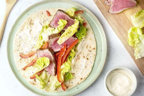 Wrap met gemarineerde biefstuk