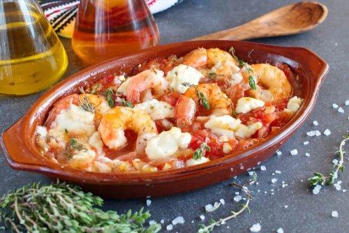 Oven gebakken garnalen met feta, tomaat, paprika en tijm