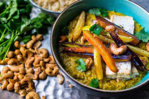 Dhal met kleurrijke wortels en tofu