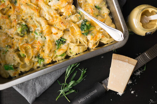 Mac 'n cheese met broccoli en bloemkool